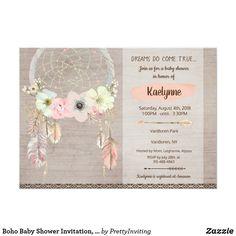 Boho Baby Shower Invitation, Dreamcatcher Rustic Card