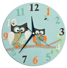 Excited to share this item from my shop: Kids Owl Clock, Nursery Decor, Personalised Clock, Owl Decor, Gift for Owl Lover Wall Clock Nursery, Nursery Decor, Room Decor, Owl Clock, Personalized Clocks, Blue Clocks, Unicorn Gifts, Cute Owl, Pattern Paper