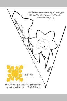 Hawaiian quilting daffodil block. http://www.poakalani.net/f103marchdafodil.pdf