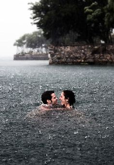 swimming in the rain! This is on my bucketlist! beautiful rain photo of couples in the rain Summer Bucket, Rainy Days, Belle Photo, Cute Couples, True Love Couples, Thing 1, In This Moment, Let It Be, World