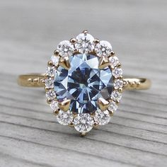 Grey moissanite vintage halo ring + conflict-free diamonds in yellow gold