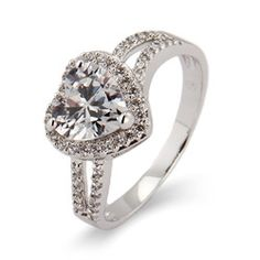 Sterling Silver Jewelry - Kayla's Beautiful Heart CZ Promise Ring
