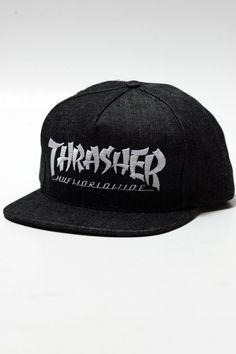 4fa28c77649 Huf X Thrasher Asia Tour Snapback Black Denim Stoops collab skate hat