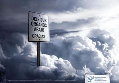 """Ad from Spain: """"Leave organs below. Thank you."""""""
