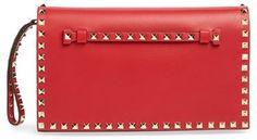 Valentino 'Rockstud' Nappa Leather Flap Clutch