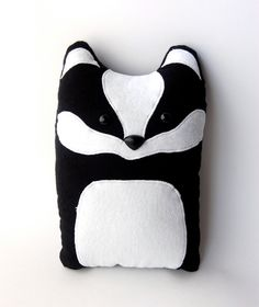 Badger Woodland Plush Stuffed Animal Pillow - Nellie - Made to Order