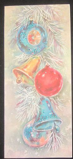 Vintage Christmas Greeting Card Hanging Ornaments Bells and Shiny Brite