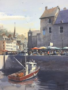 Boat painting fishing boats watercolor nautical painting honfleur normandy france  original fine art sale christmas present art lover gift door TylDestoopArt op Etsy