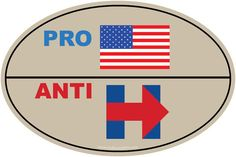 PRO-AMERICA ANTI-HILLARY 4x6 inch bumper sticker - Just $2.49 each - Price includes FREE shipping anywhere in the USA - Click on the eBay link or visit www.OnBoardWith.com now!