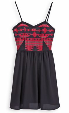 Black Spaghetti Strap Tribal Geometric Pattern Embroidery Dress - Sheinside.com