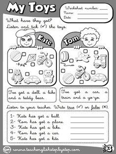 My Toys - Worksheet 2 (B&W version)