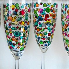 Hand Painted Bubbles on Champagne Flute