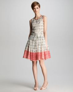 Red Valentino | Multicolor Knotprint Georgette Dress | Lyst