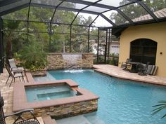 Raised Outdoor Spa | Stacked Stone Wall | Pool and Spa