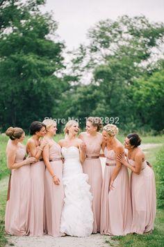 Хиты 2014 продажа милая ленты с длинными шампанское платья невесты тонкий-линии шифоновое платье подружки невесты дешевые