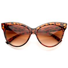 Large elegant cat eye frame that feature round curves, exaggerated pointed corners and small metal rivets on the temple. Made with an acetate based frame, metal hinges and polycarbonate UV protected lenses.
