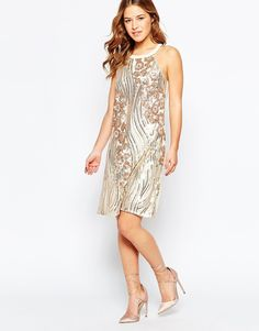 Image 4 ofLittle Mistress Petite Sequin Embellished Halter Shift Dress