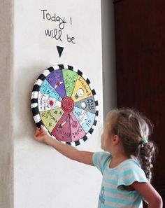 spinning wheel for kids to set an intention for the day - today I will be...awesome!