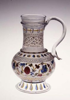Jar with enamelled decorations (end 15th century), Glass Museum