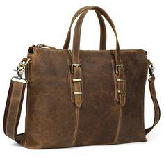 TIDING 2016 Top New Leather Briefcase Handbags For Men Business Shoulder Bag Vintage Simple Style 20213
