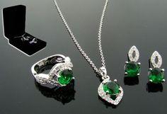 WOMENS EMERALD HALO RING SET +  free earrings!! SZ 5 SZ 6 SZ 7 SZ 8 SZ 9 SZ 10  #EXCEPTIONALBUY #WithDiamondsGemstones