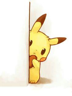 Pikachu, peeking, food, cute; Pokemon