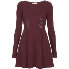 **Hatty Knitted Dress by Goldie (395 SEK) ❤ liked on Polyvore featuring dresses, maroon, longsleeve dress, brown dress, maroon long sleeve dress, chain dress and box pleat dress
