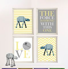 Baby Boy Star Wars Nursery Art- Boy Room Decor - 4 Print Set - Star Wars Decor - Baby Shower Gift - Nursery Play Room - Boy Wall Art