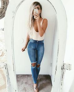 // Pinterest @esib123 //  #style #inspo  bodysuit + denim
