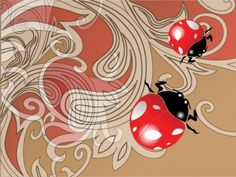 Abstract Floral Ladybug Vector Background - http://www.welovesolo.com/abstract-floral-ladybug-vector-background/