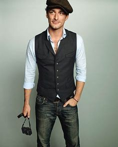 This is the look we are doing for the guys shirt buttoned and minus that hat