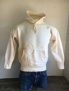 0864ea2c7 50s 60s Vintage Sweatshirt Hoodie Sweater Basic Distressed Workwear 100%  Cotton Classic Raglan Men's Small