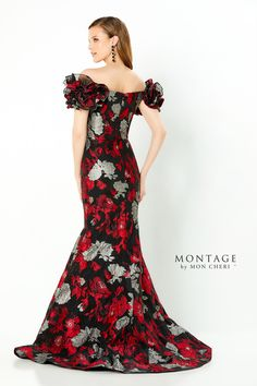 Montage Style 220952. Description: Off the shoulder brocade trumpet gown with a deep v-neck, natural waist, high zipper back, horsehair hem and sweep train. Detachable sleeve flowers. Details: Length: Long;Waistline: Natural;Silhouette: Trumpet;Fabric: Brocade;Collection: Spring 2021;Brand: Montage;Neckline: Deep V-Neck;Special Features: Detachable Ruffle at Shoulder Included Pageant Dresses, Formal Dresses, Bride Dresses, Dress For You, Dress Up, Montage By Mon Cheri, Floral Evening Gown, Evening Gowns With Sleeves, Off Shoulder Gown