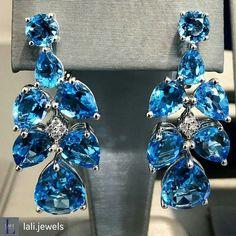From @lali.jewels -   #BlueTopaz cluster #earrings#LALIjewels #statementearrings
