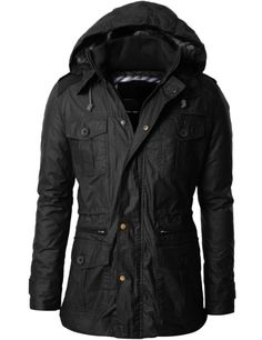 Amazon.com: Doublju Mens Parka Jacket with Hood Fur Lining: Clothing--This wouldn't look bad with a tie around the waist.