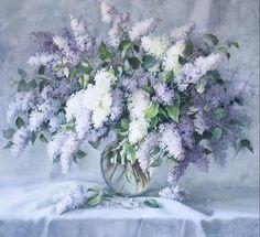 lilacs in a glass vase. watercolor by Elena Bazanova. / LAMINAS... Y TRABAJOS CON FLORES (pág. 221) | Aprender manualidades es facilisimo.com