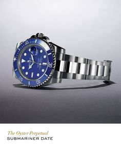 Rolex Submariner Date in white gold with a rotatable graduated blue Cerachrom bezel, blue dial and Oyster bracelet. #RolexOfficial