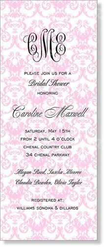 Pink Review Monogram Invitation