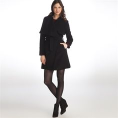 Open Cardigan-Style Lined Coat 70% Wool, 10% Cashmere