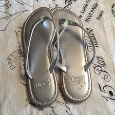 ce76f5274b66 UGG Flip Flops Silver Size 6  fashion  clothing  shoes  accessories   womensshoes