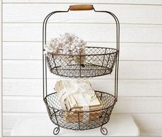 Vintage Style Two Tiered Wire Vegetable Basket Stand French Country Decor