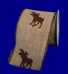 Roll of Burlap Moose Ribbon, 5 yards