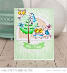 Tweet Wishes Stamp Set and Die-namics, Whimsical Woodgrain Background, Stitched Dome Frames Die-namics, Tag Builder Blueprints 5 Die-namics - Anna Kossakovskaya  #mftstamps