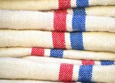 Beautiful Vintage French Red/Blue striped linen Tea Towels. $24.00, via Etsy.