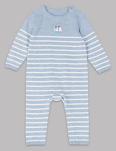 Pure Cotton Striped Baby All in One | M&S