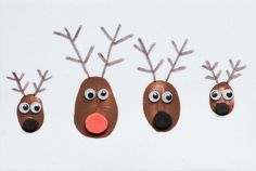 What a fun Christmas art project! Have everyone in the family use their thumbs to make reindeer. You could turn this into a homemade Christmas card, too! Christmas Art Projects, Christmas Crafts For Toddlers, Toddler Christmas, Christmas Ornaments To Make, Christmas Activities, Crafts To Do, Christmas Fun, Holiday Crafts, Christmas Cards
