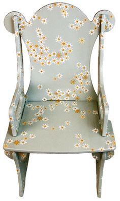 Baby Blue Decorated Wood Chair for Children by UnderTheNumNumTree, $425.00