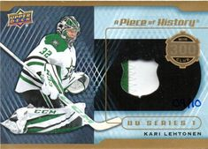 A Piece of History 300 Win Club Patch Kari Lehtonen Hockey Cards, Baseball Cards, 300 Win, Young Guns, Upper Deck, Patches, Club, History, Sports