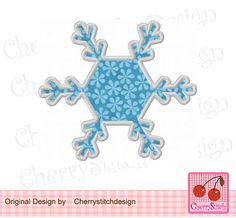 Snowflake Snow AppliqueWinter design-4x4 5x7 by CherryStitchDesign