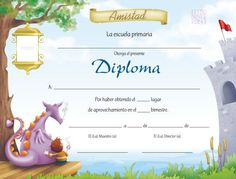Plantillas para diplomas de preescolar gratis - Imagui                                                                                                                                                                                 Más Teaching Spanish, Certificate, Dental, Projects To Try, Classroom, Pictures, Frames, Ideas, Painted Sideboard